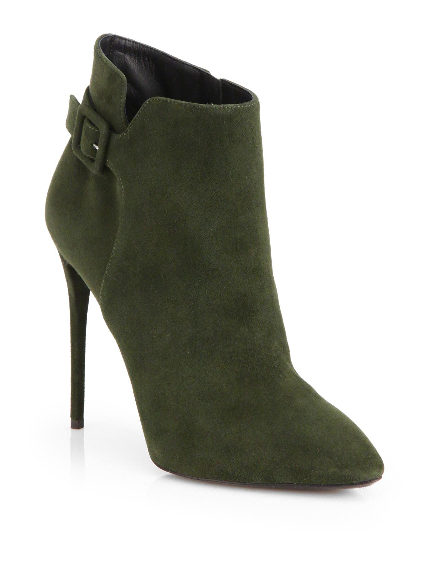 giuseppe zanotti suede buckle ankle boots in green lyst
