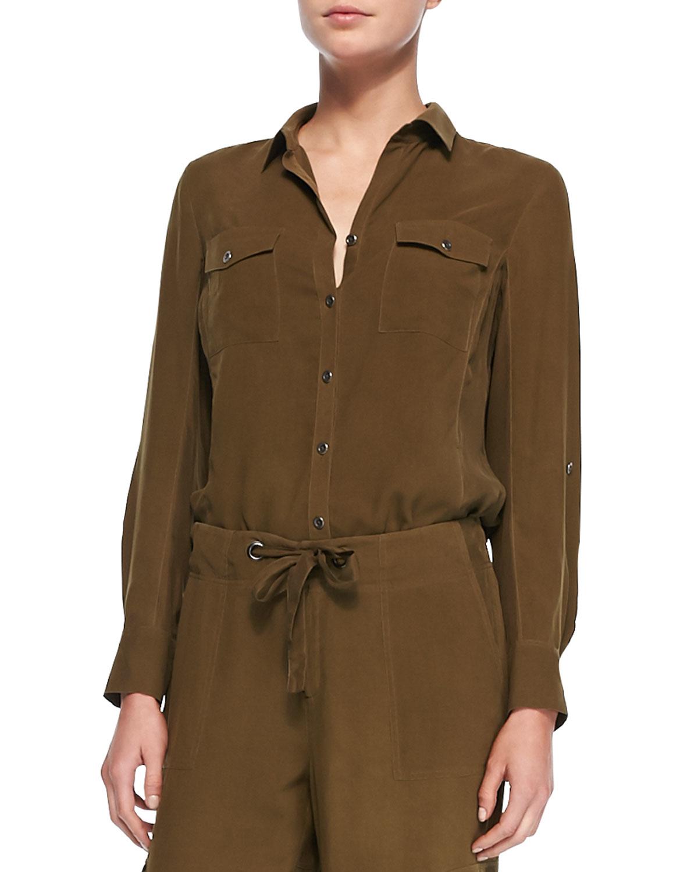 Safari Shirt Cognac Heels: Go> By Go Silk Silk Safari Shirt In Green
