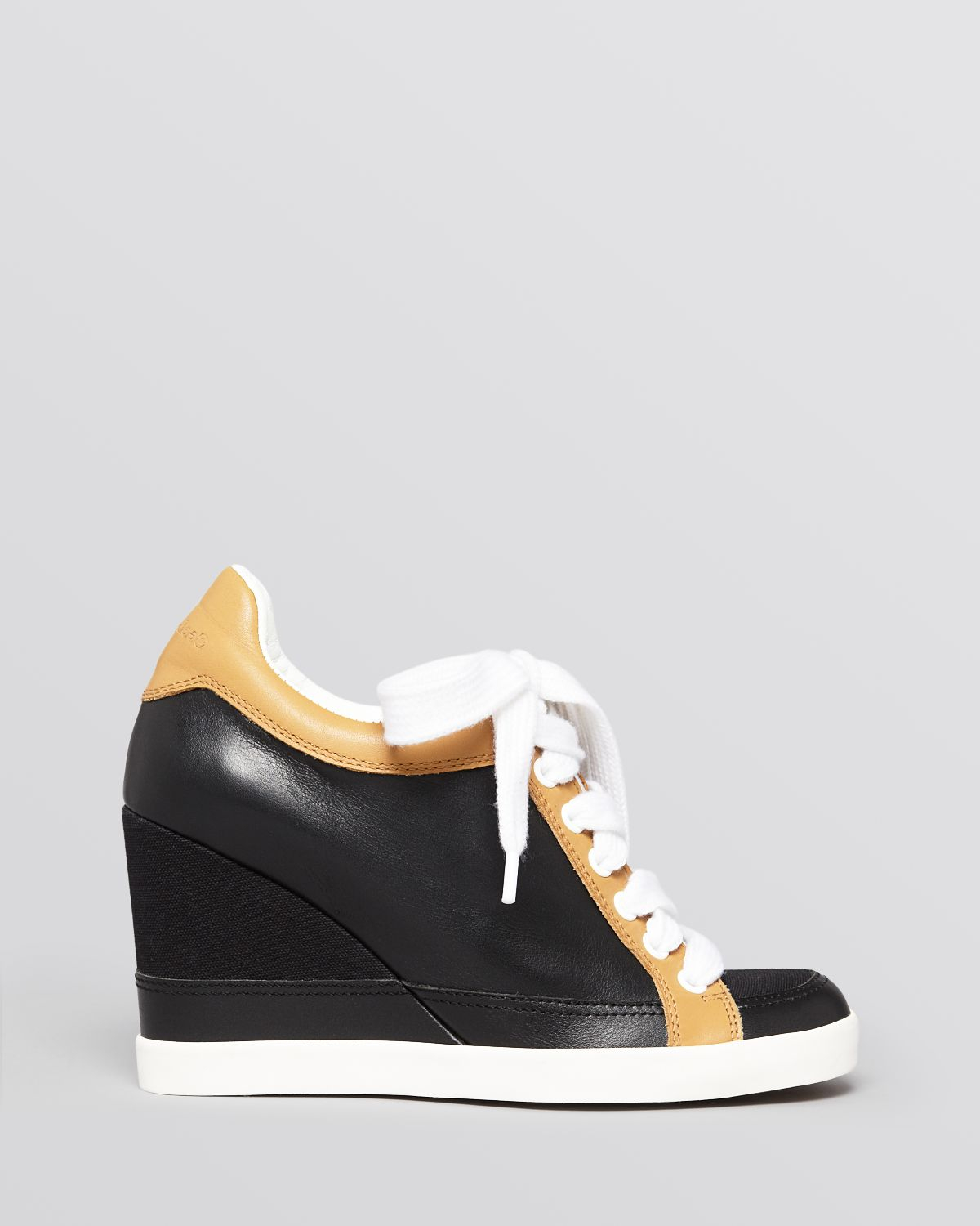 see by chlo lace up wedge sneakers gondola in black lyst. Black Bedroom Furniture Sets. Home Design Ideas