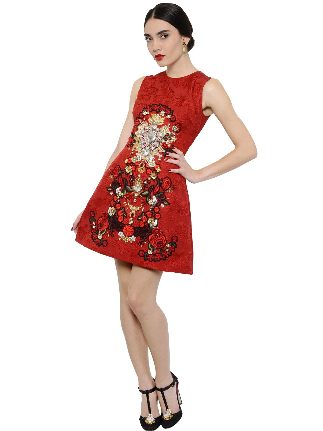 36ab0f81 Dolce & Gabbana Sacred Heart Embellished Brocade Dress in Red - Lyst