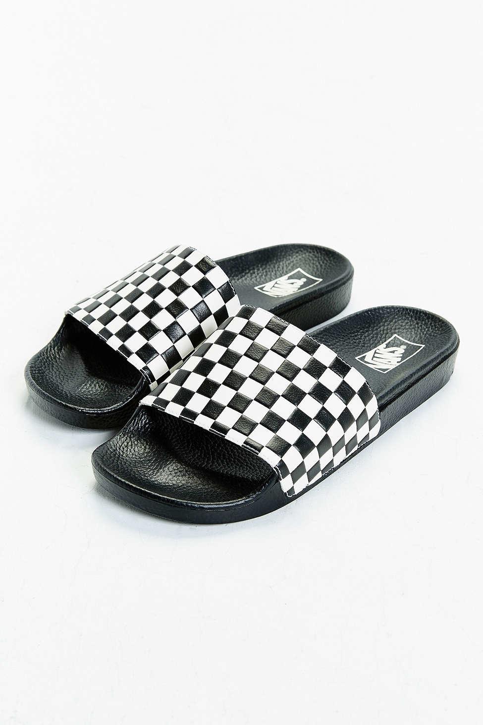 f46f97391a4e Vans Slide-on Checkerboard Sandal in White for Men - Lyst