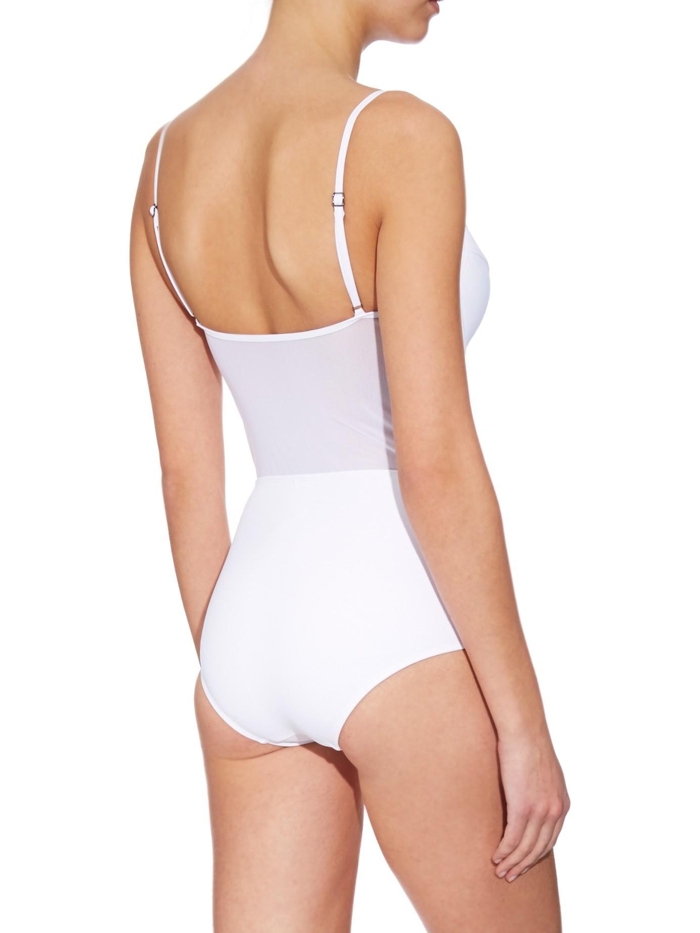 Zimmermann Ticking Plunge-neck Swimsuit in White | Lyst