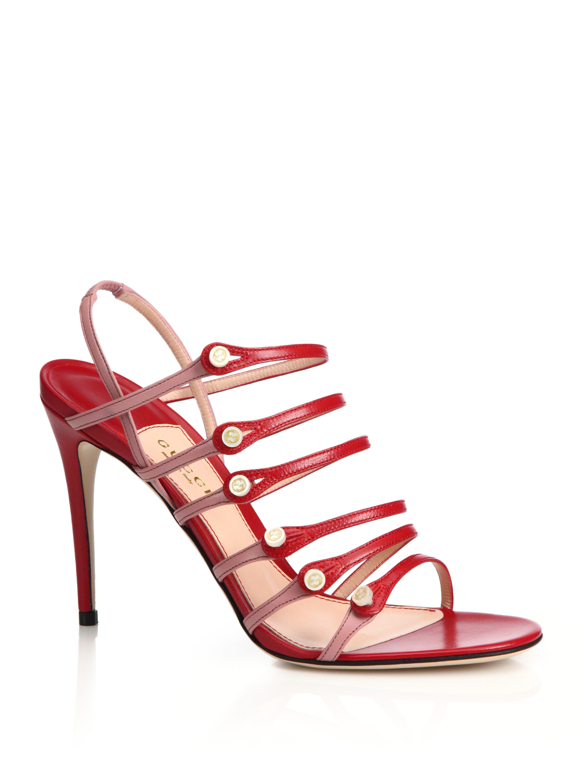 2af8679a8040 Lyst - Gucci Aneta Strappy Leather Button Sandals in Red
