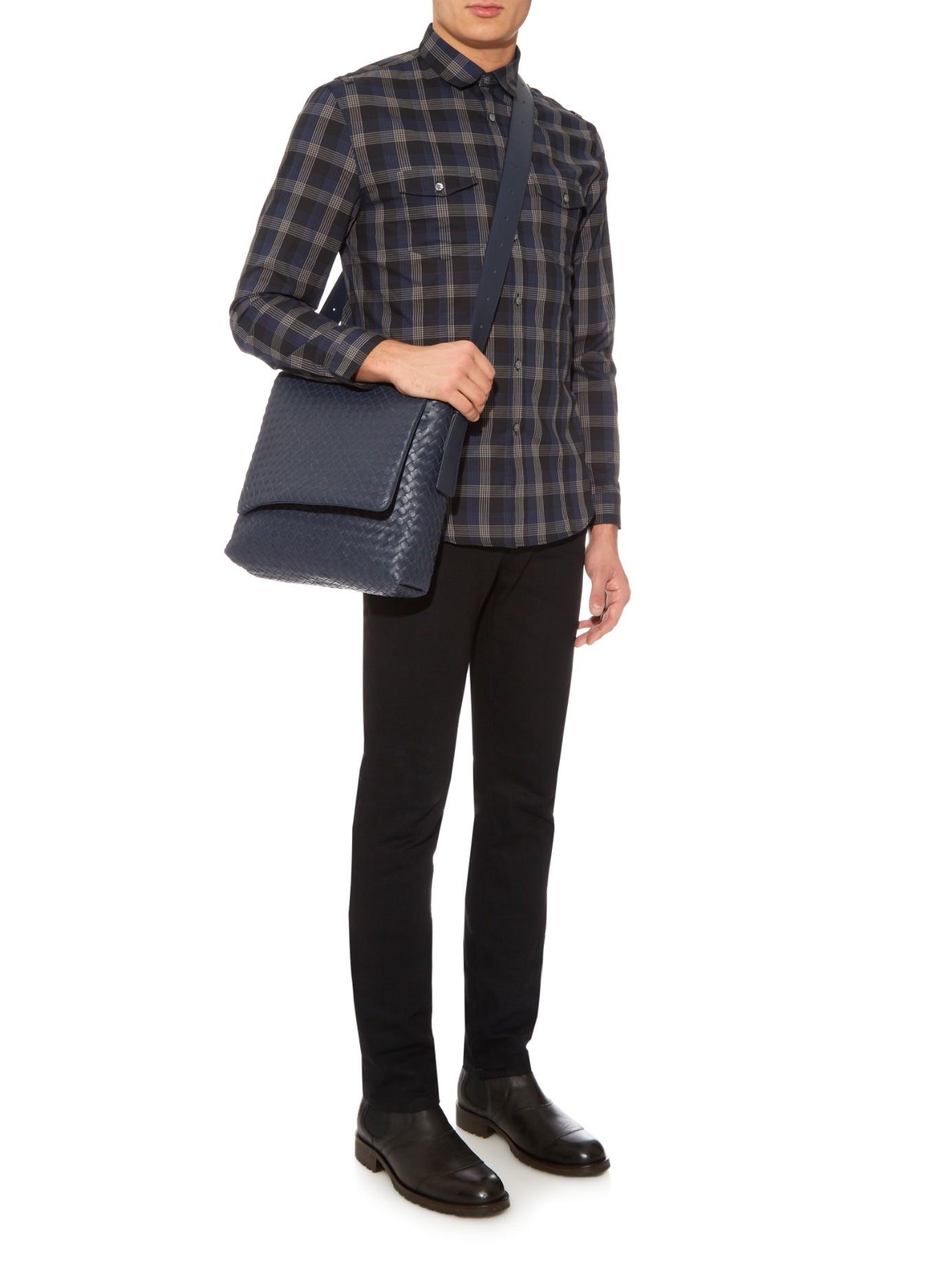 2c7c82f2ec Bottega Veneta Intrecciato Leather Messenger Bag in Blue for Men - Lyst