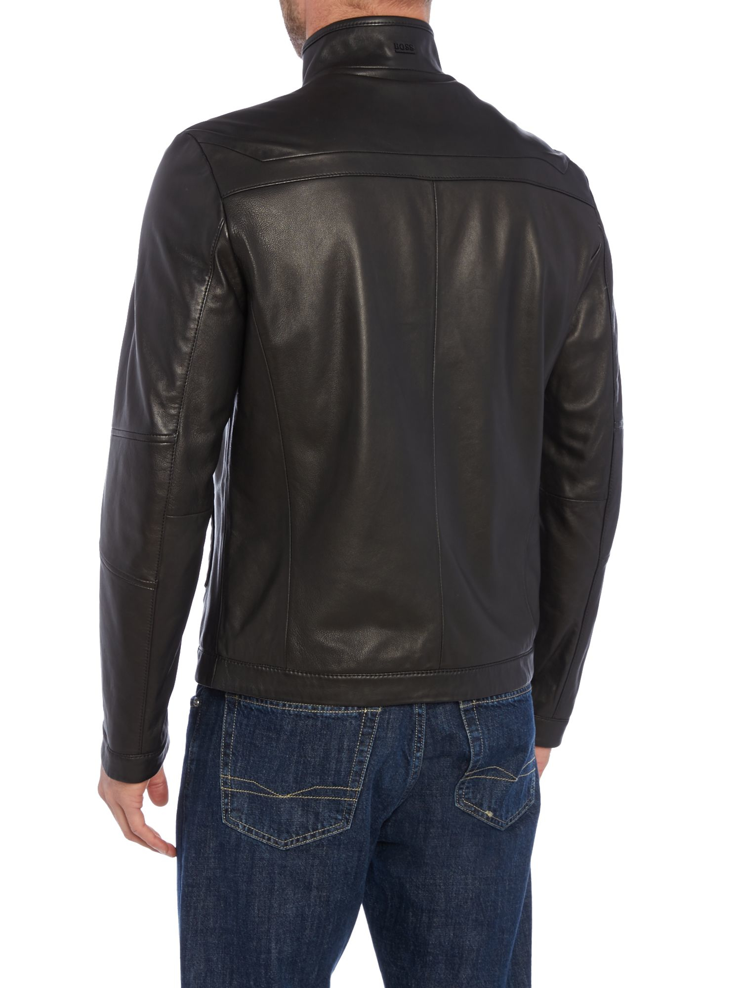 lyst boss noskins casual leather jacket in black for men