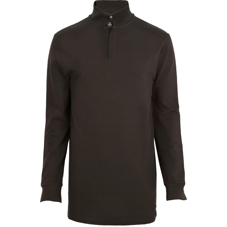 Lyst river island dark green longline polo shirt in for Dark green mens polo shirt