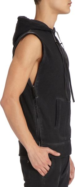 Black sleeveless zip up hoodie