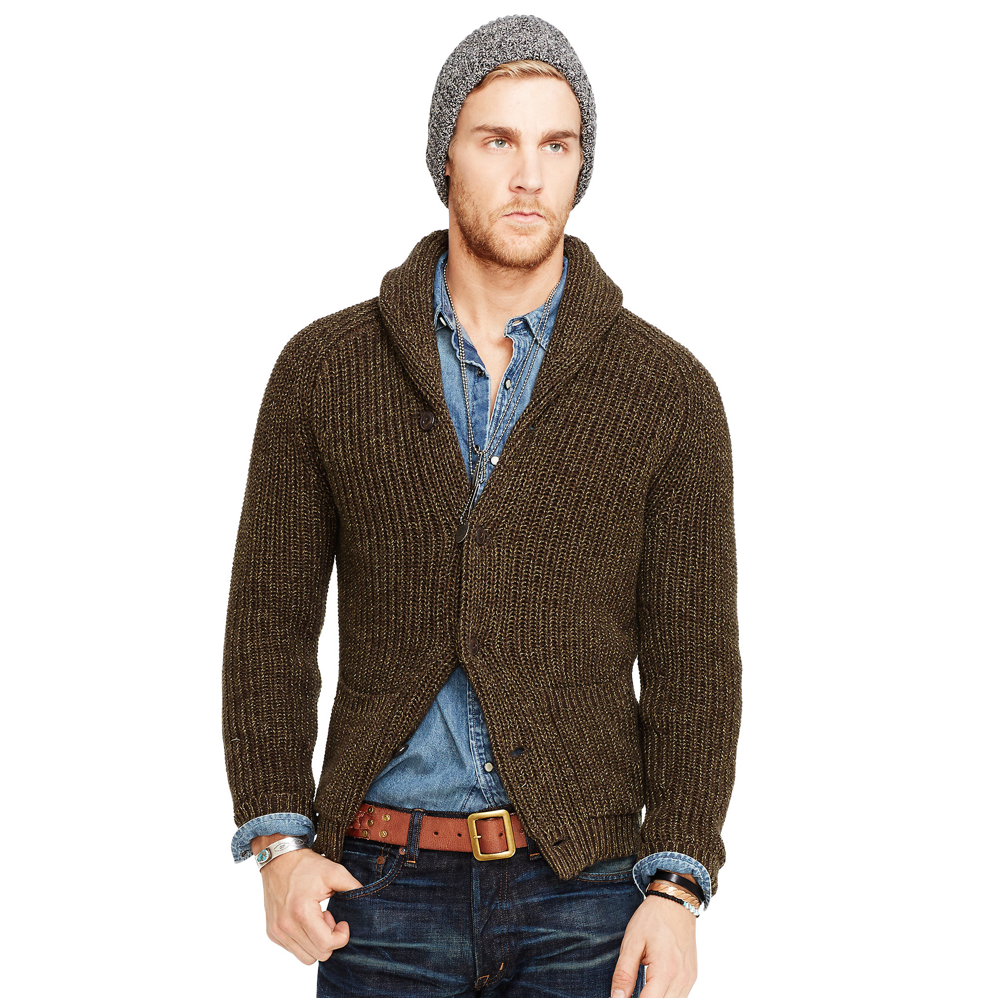 Denim & supply ralph lauren Cotton Shawl Cardigan in Brown for Men ...