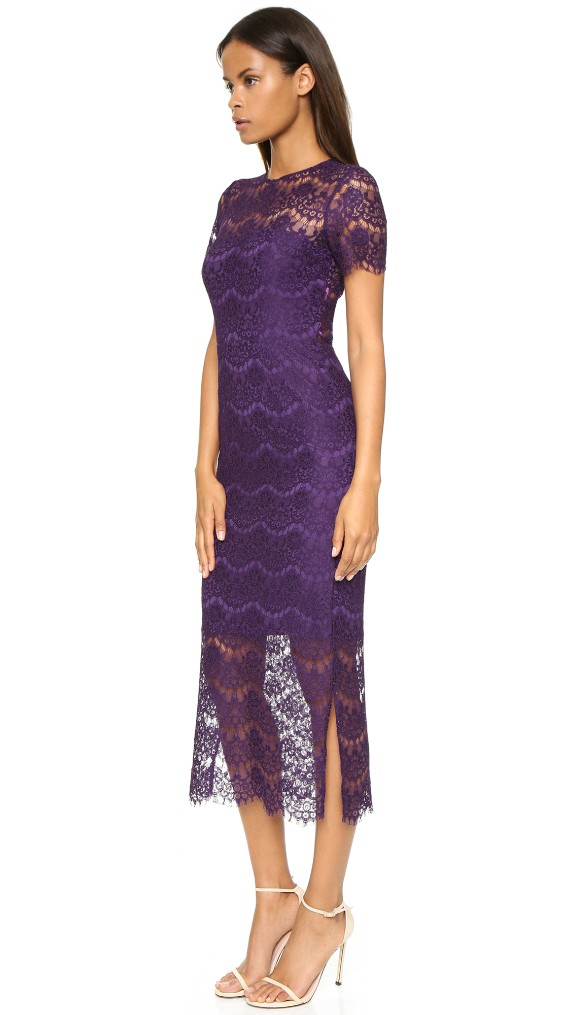 Cynthia rowley Scalloped Lace Dress - Plum in Purple | Lyst
