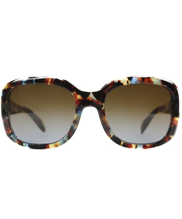 90e81de037 ... get lyst prada pr 17ps nag0a4 havana spotted blue sunglasses brown  fed91 d6f91