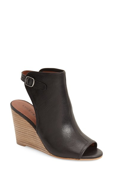 Lucky Brand Risza Open Toe Wedge Bootie In Black Lyst