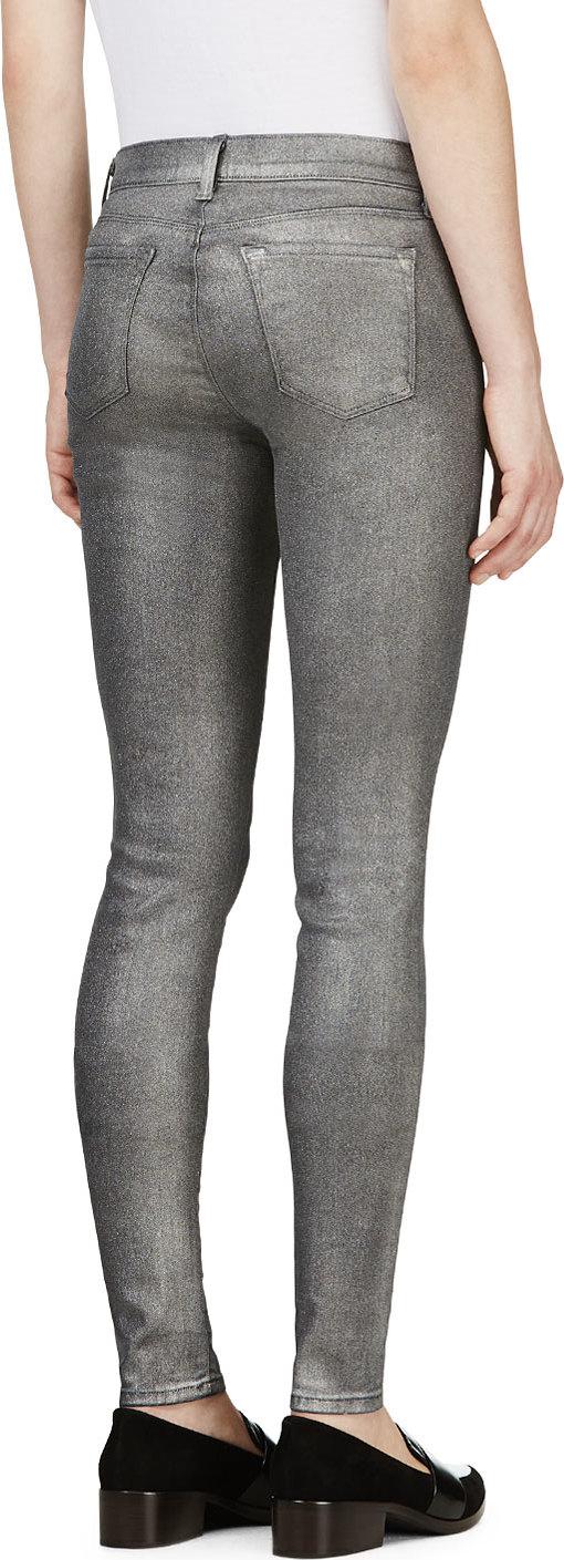 J brand Silver Super Skinny Jeans in Metallic   Lyst