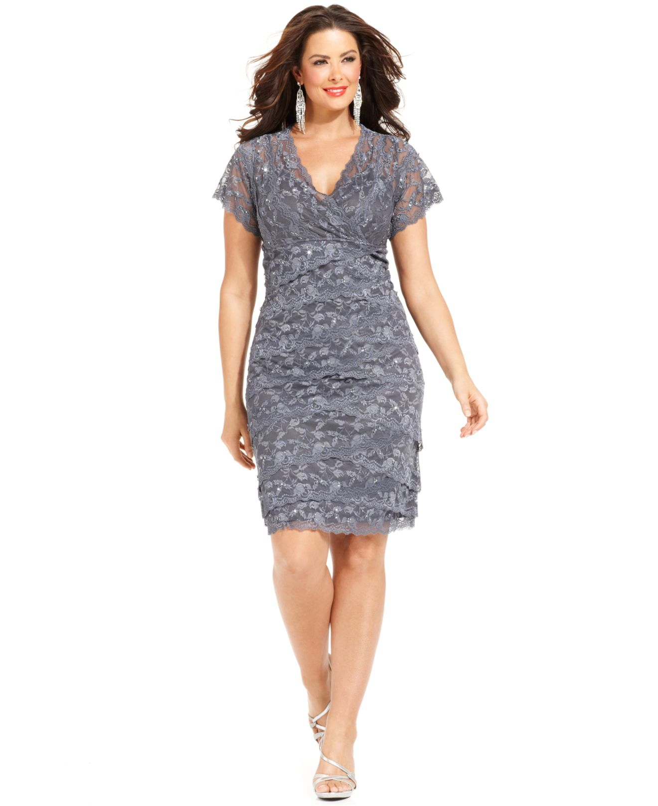 Lyst marina plus size cap sleeve lace cocktail dress in gray for Cocktail dress with sleeves for wedding