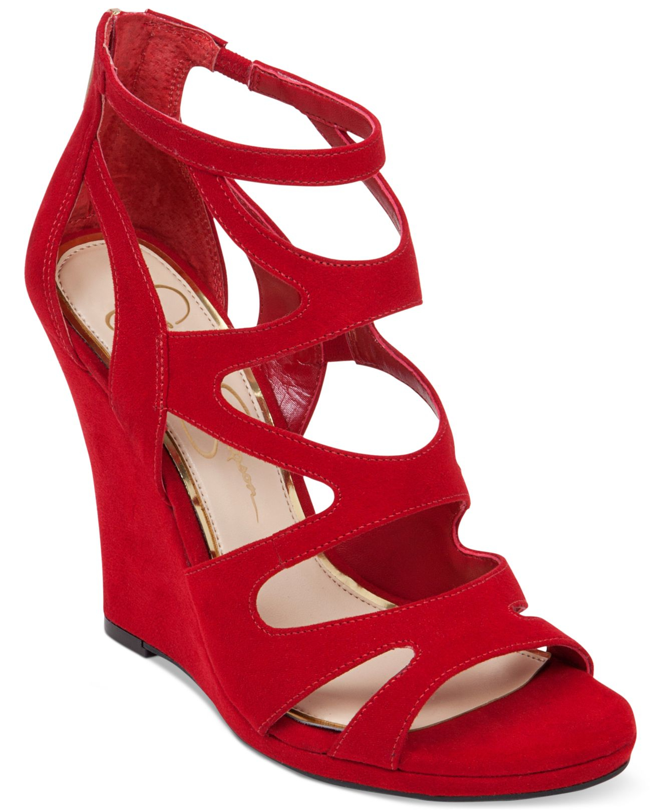 Lyst Jessica Simpson Delina Caged Wedge Sandals In Red