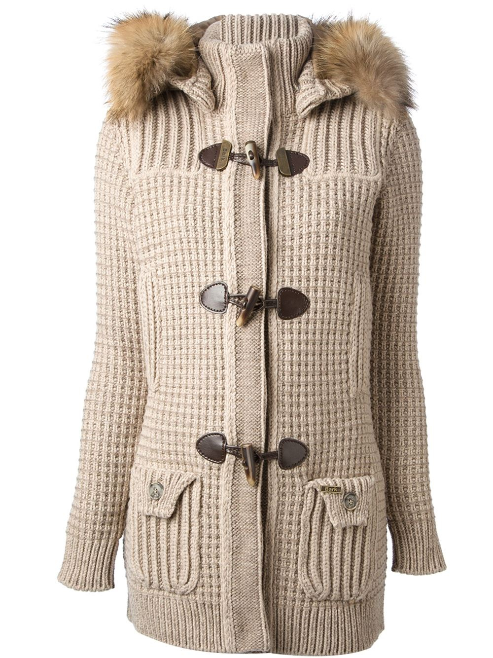 Bark Knitted Duffle Coat in Natural | Lyst
