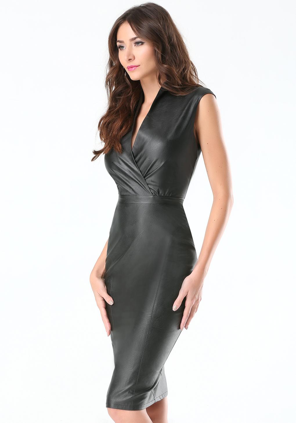 5887af63b5 Lyst - Bebe Petite Faux Leather Dress in Black