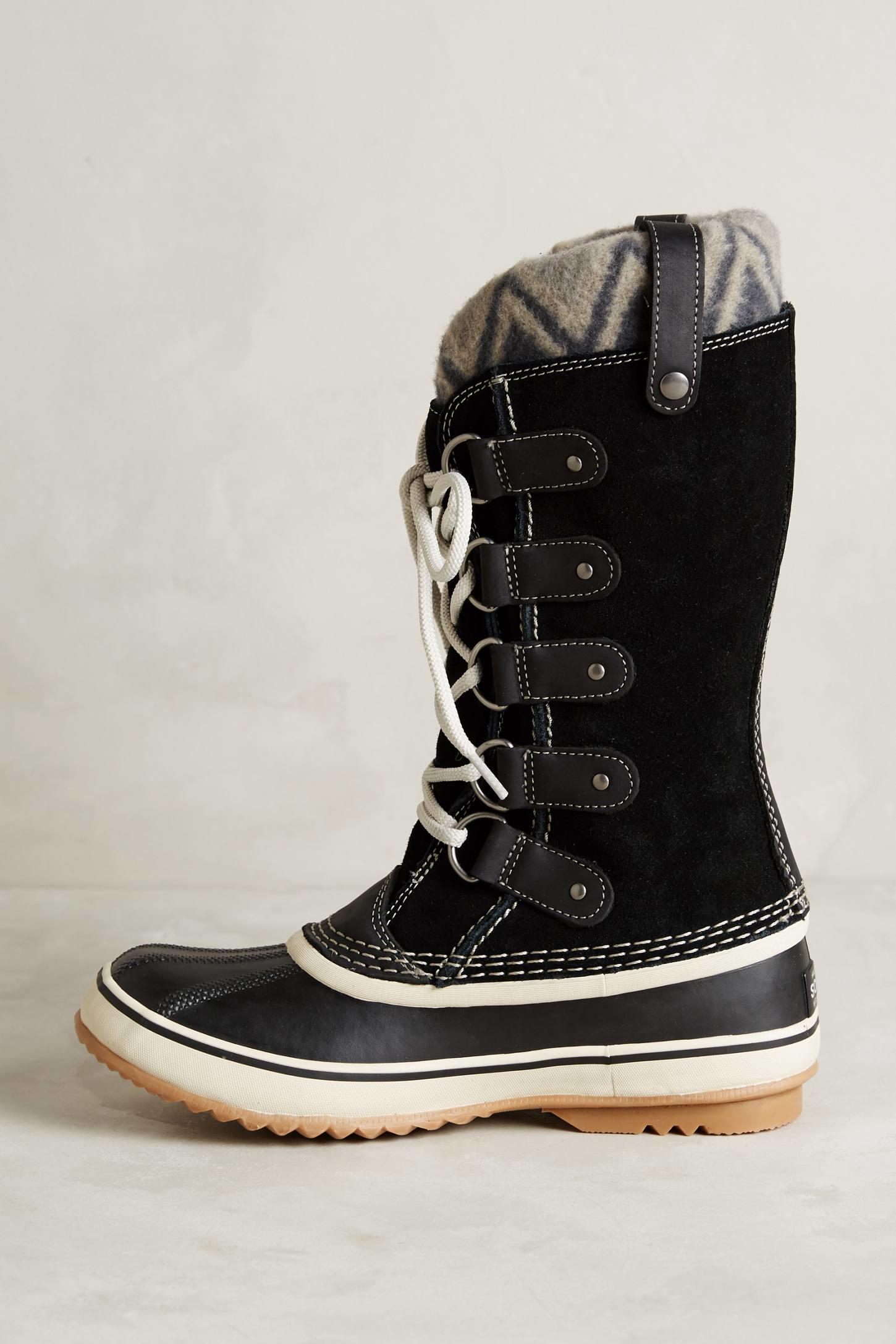 sorel joan of arctic knit boots in black lyst. Black Bedroom Furniture Sets. Home Design Ideas