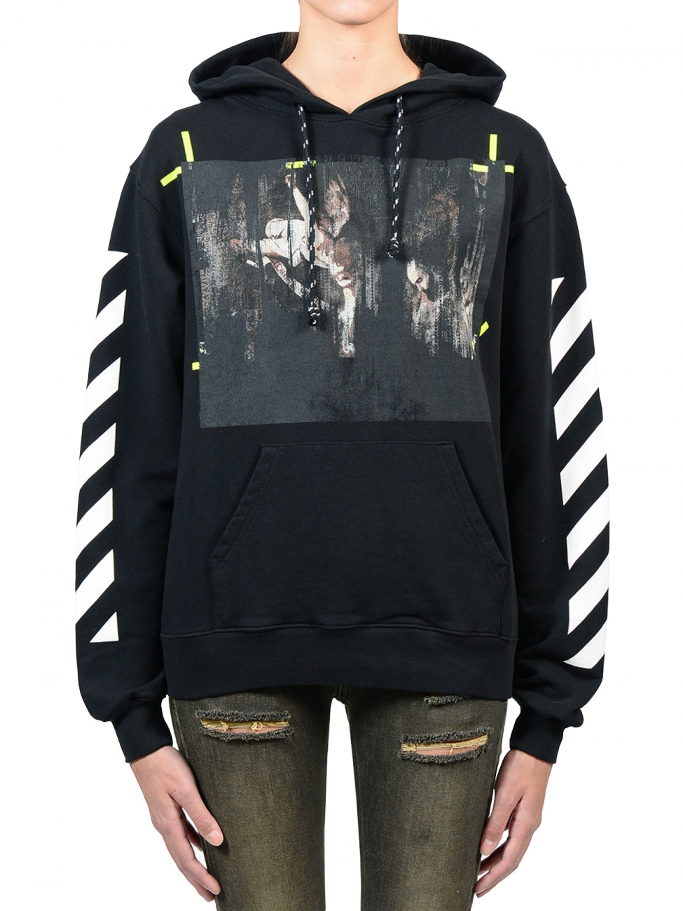 Off White C O Virgil Abloh Caravaggio Black Hoodie In Black Lyst