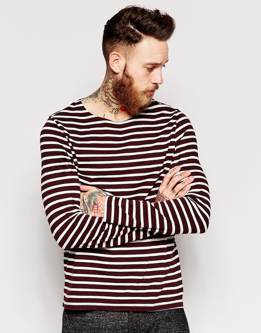 asos stripe long sleeve t shirt with boat neck in black