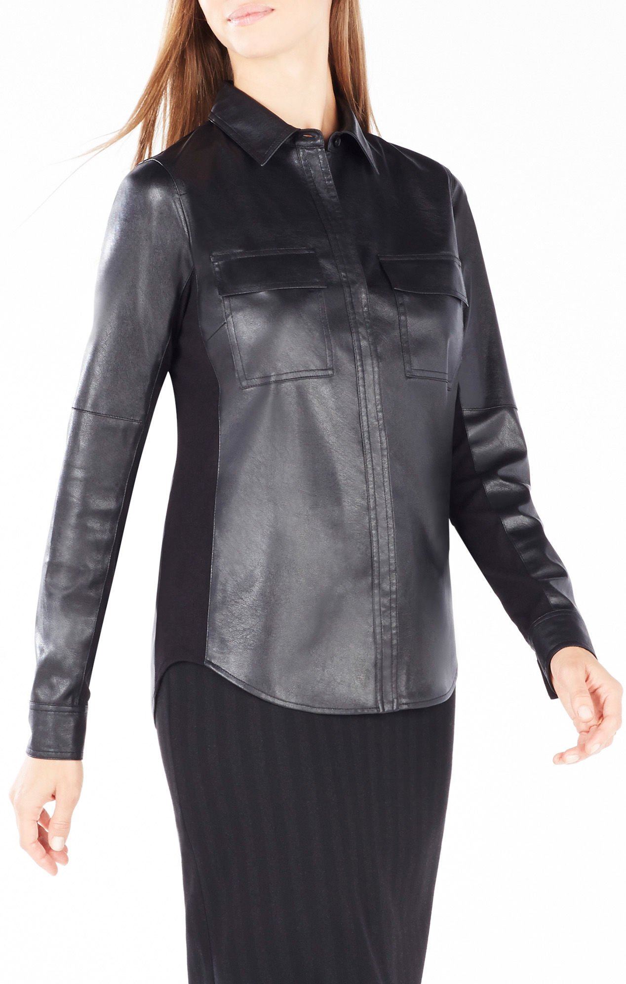 Bcbgmaxazria Torey Faux Leather Button Up Top In Black Lyst