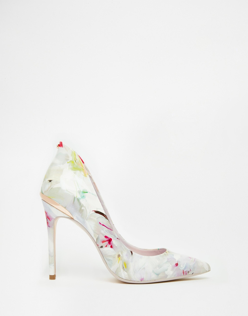 2b0034e14 Lyst - Ted Baker Savenniers Floral Print Leather Court Shoes in White