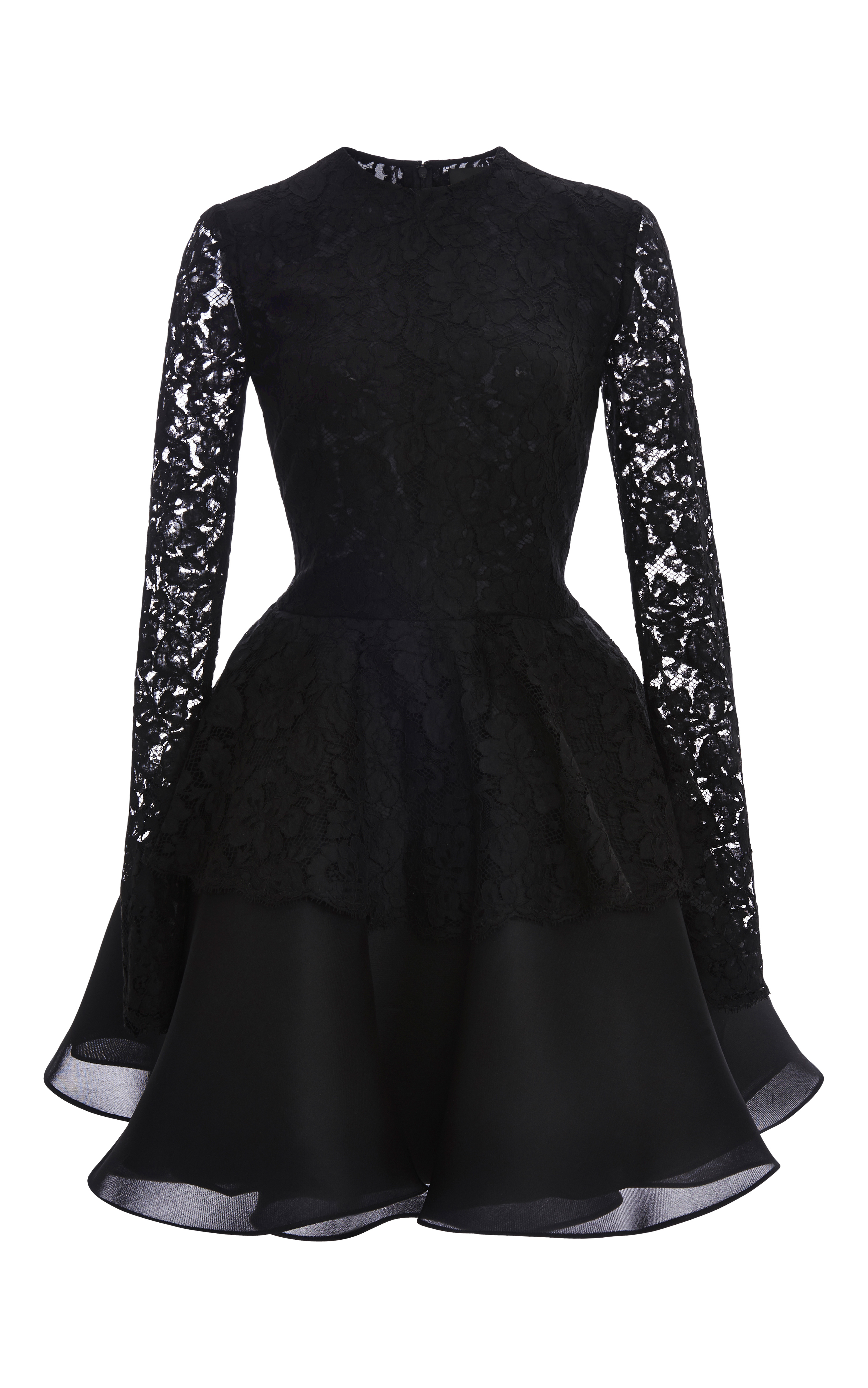 0236c8e335d8 Cushnie et Ochs Lace with Silk Gazaar Dress in Black - Lyst