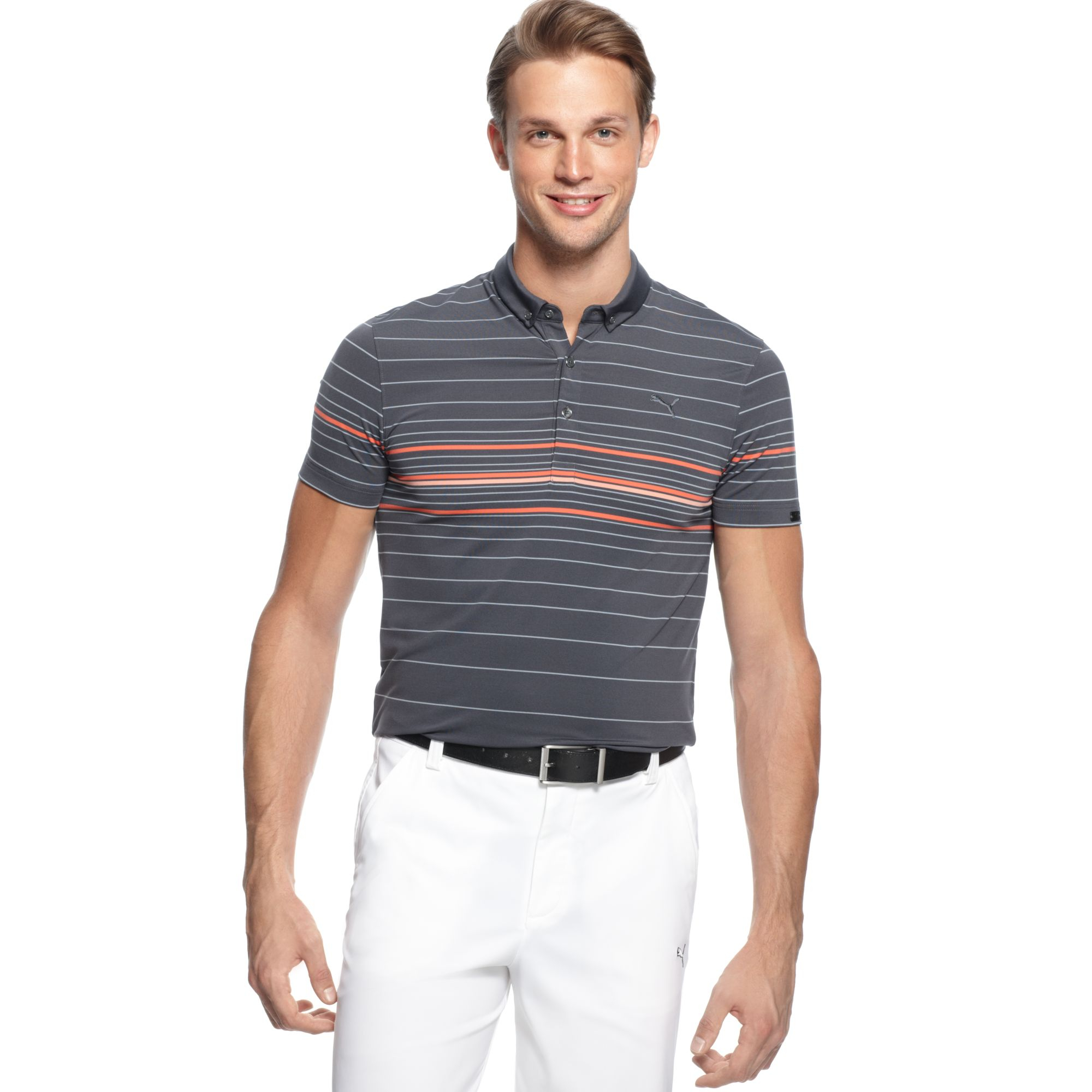 Puma sportlux slim fit drycell performance golf polo in for Slim fit golf shirts