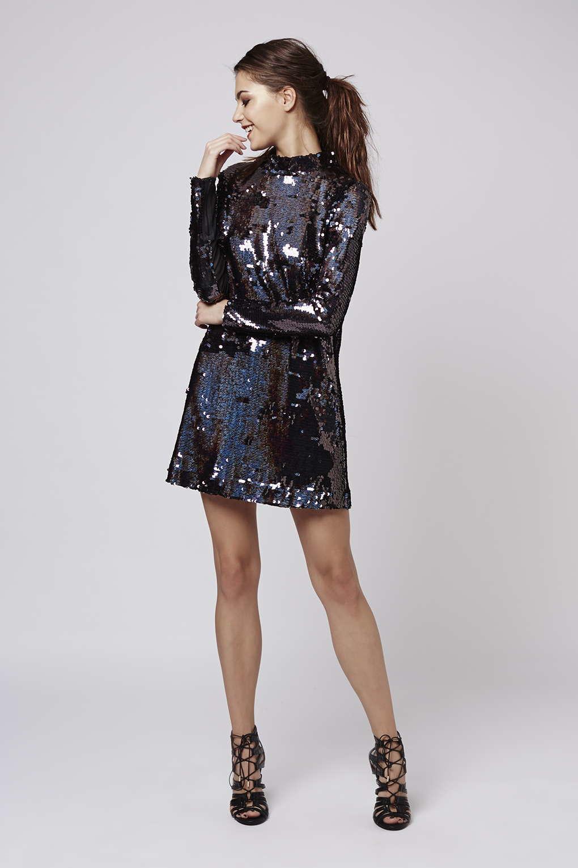 Topshop High Neck Sequin Dress In Metallic Lyst