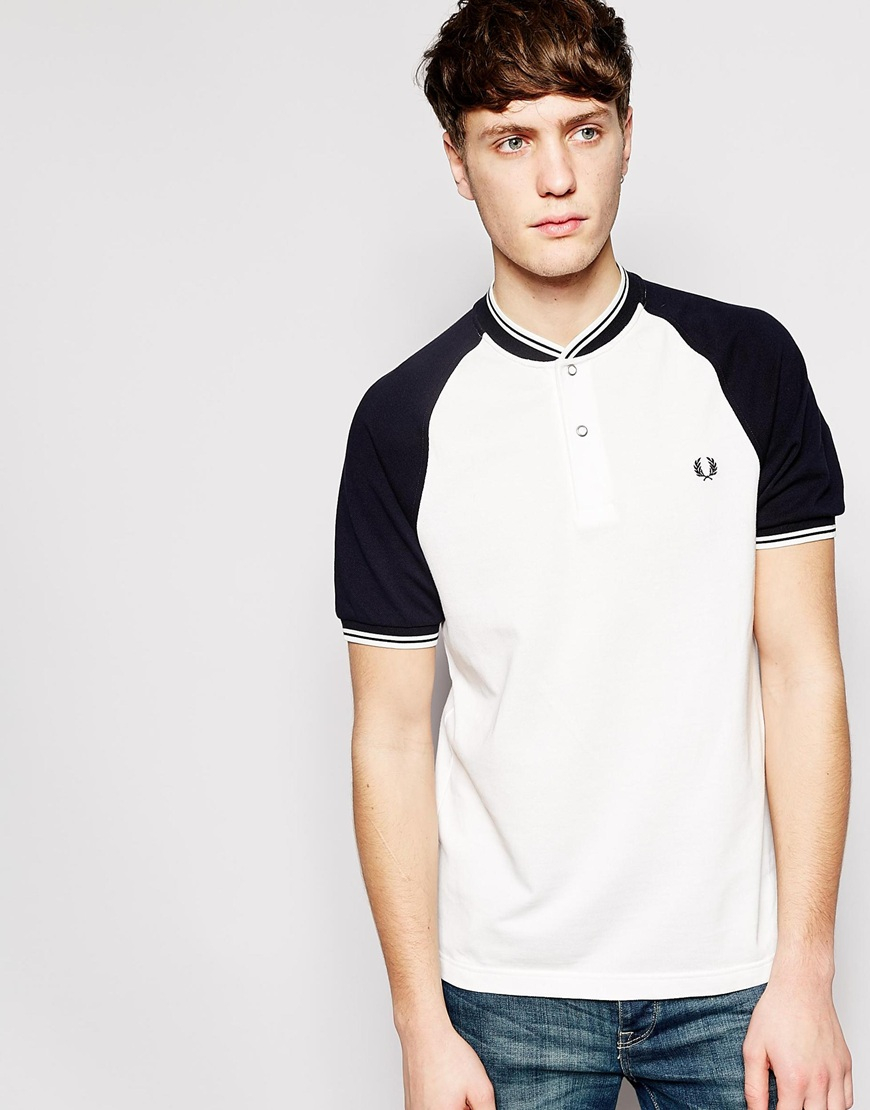 lyst fred perry polo shirt with bomber neckline slim fit in white for men. Black Bedroom Furniture Sets. Home Design Ideas