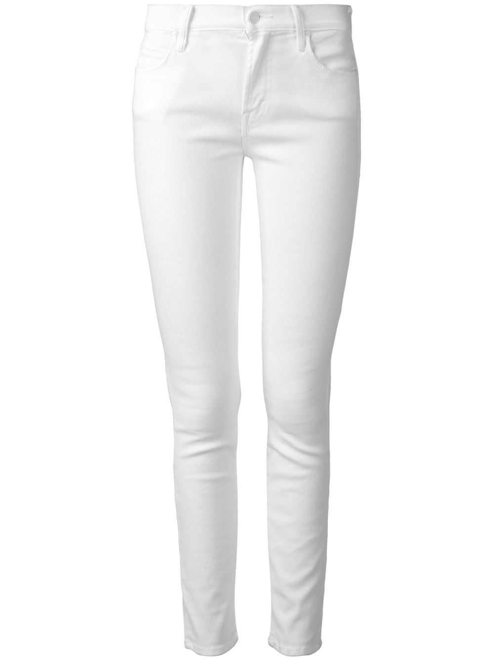 Mother Skinny Fit Jeans in White | Lyst