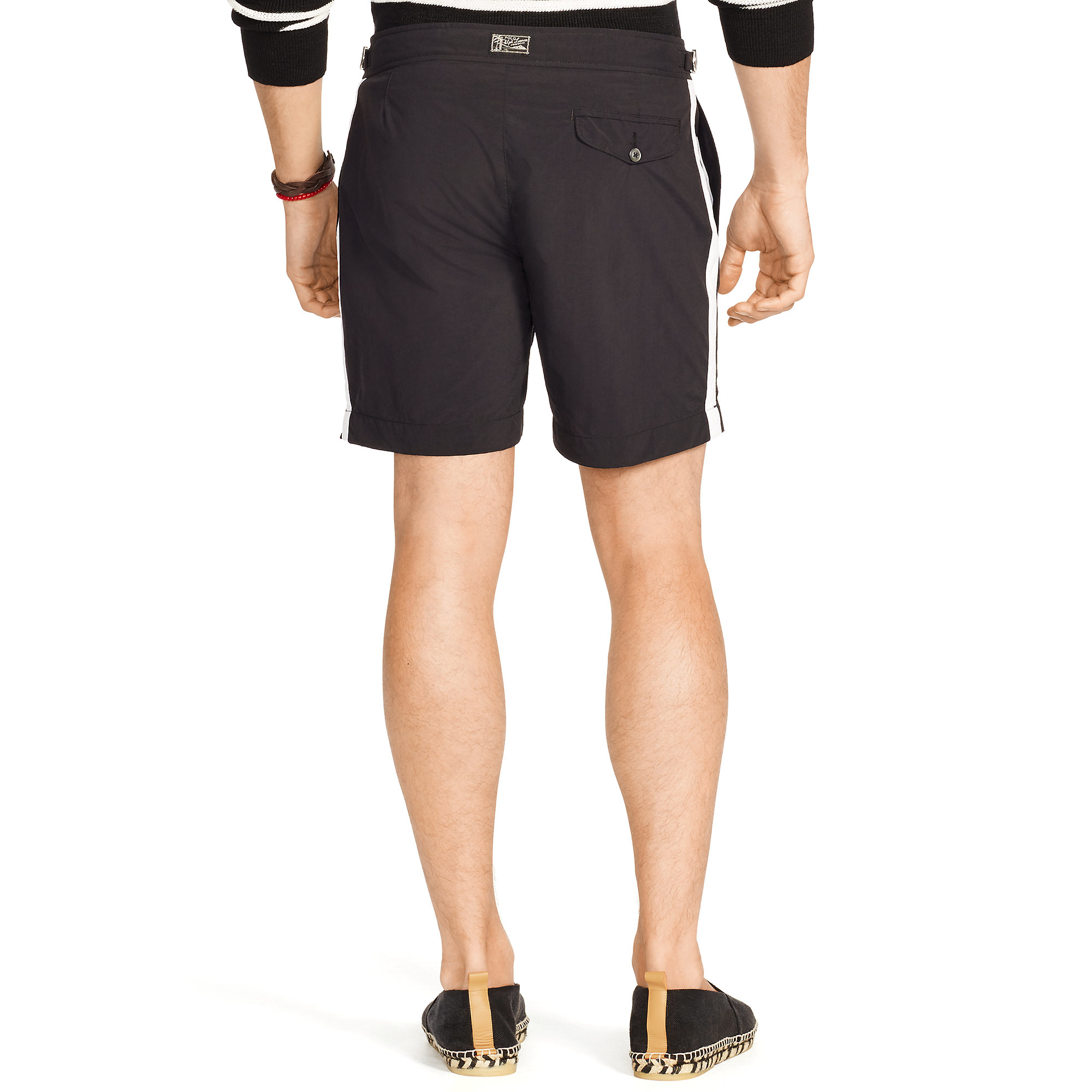 6b59ade652 Polo Ralph Lauren 7-inch Monaco Solid Swim Trunk in Black for Men - Lyst