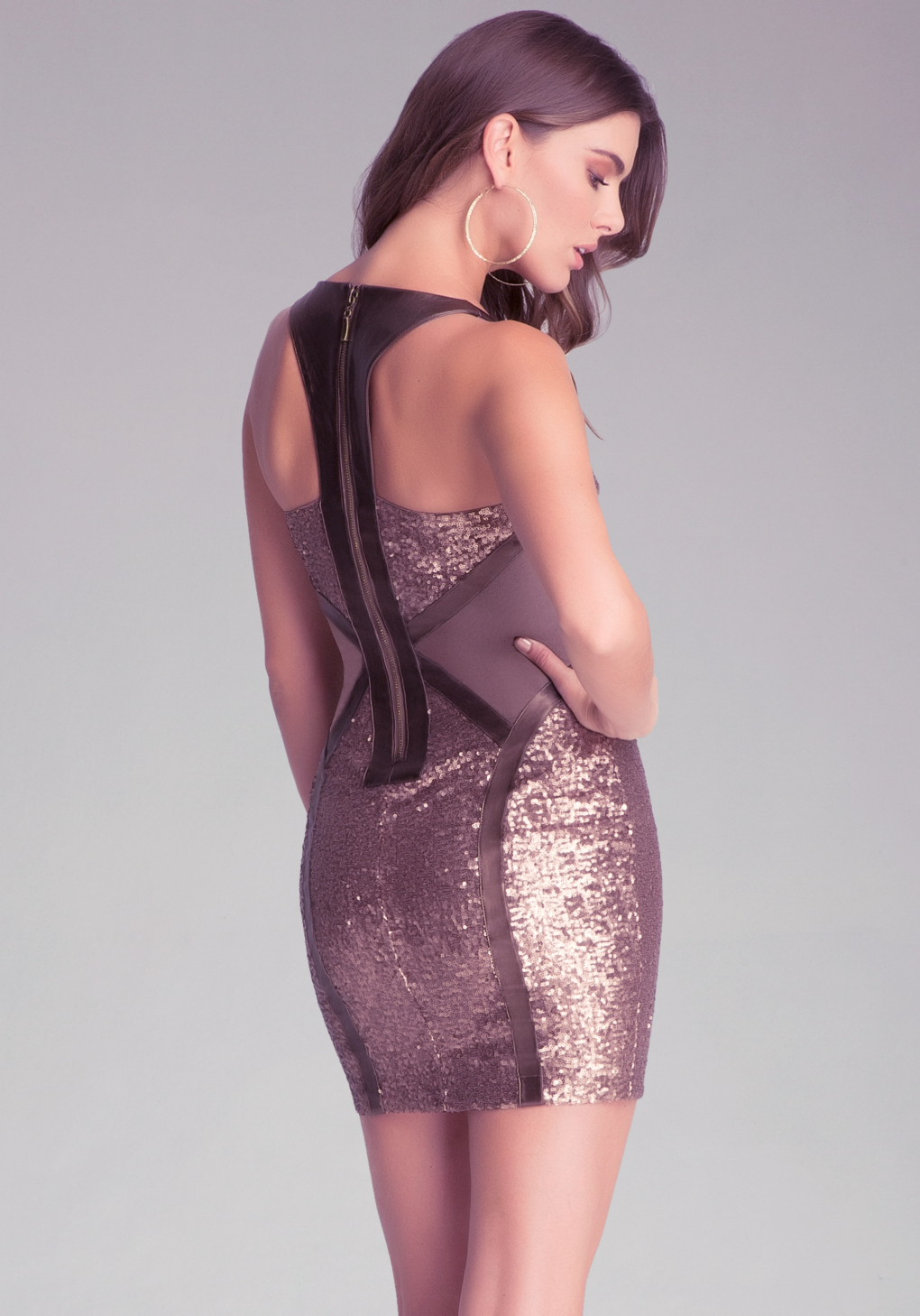Bebe Sequin Mesh V Neck Dress In Metallic Lyst