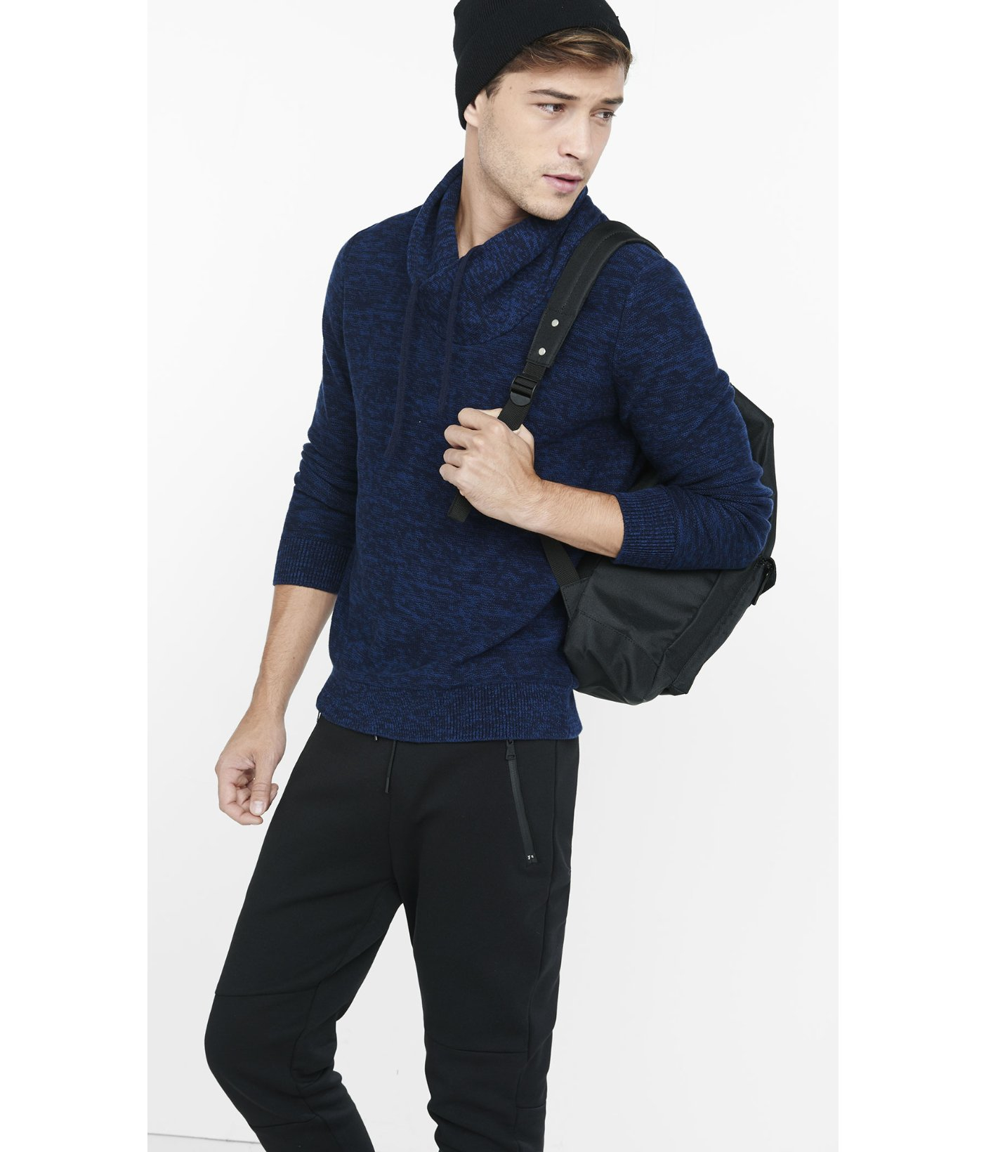 Express Marl Shawl Neck Sweater in Blue for Men | Lyst