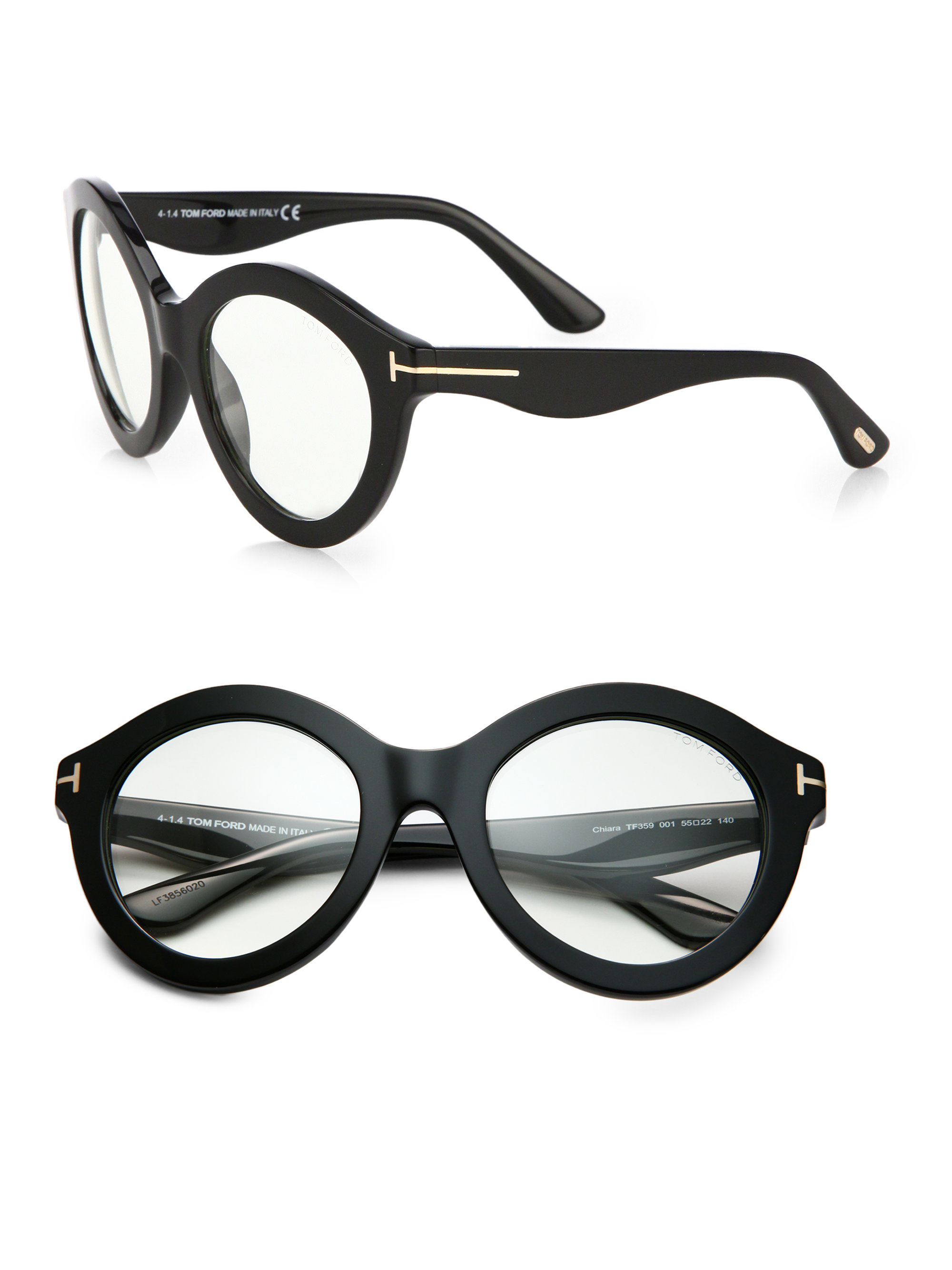 e6c1e316040 Lyst - Tom Ford Exaggerated 55mm Round Optical Glasses in Black
