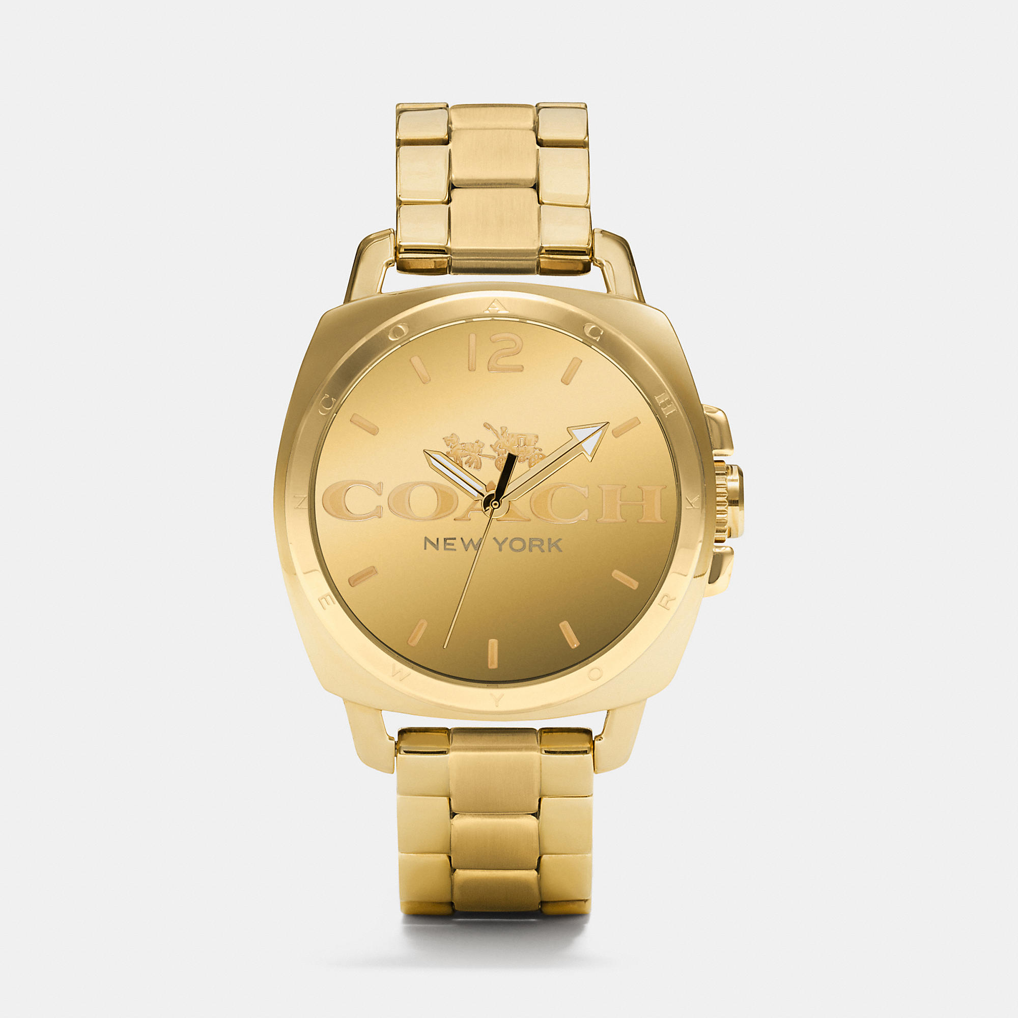 coach boyfriend 40mm gold plated bracelet in