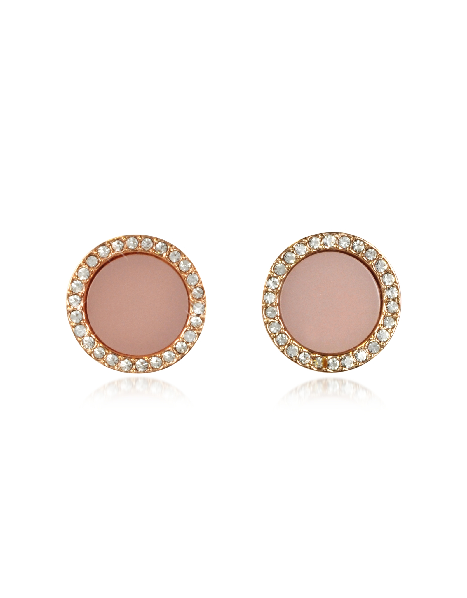 83019f5e030f8 Lyst - Michael Kors Heritage Rose Gold Stud Earrings W crystals in Pink