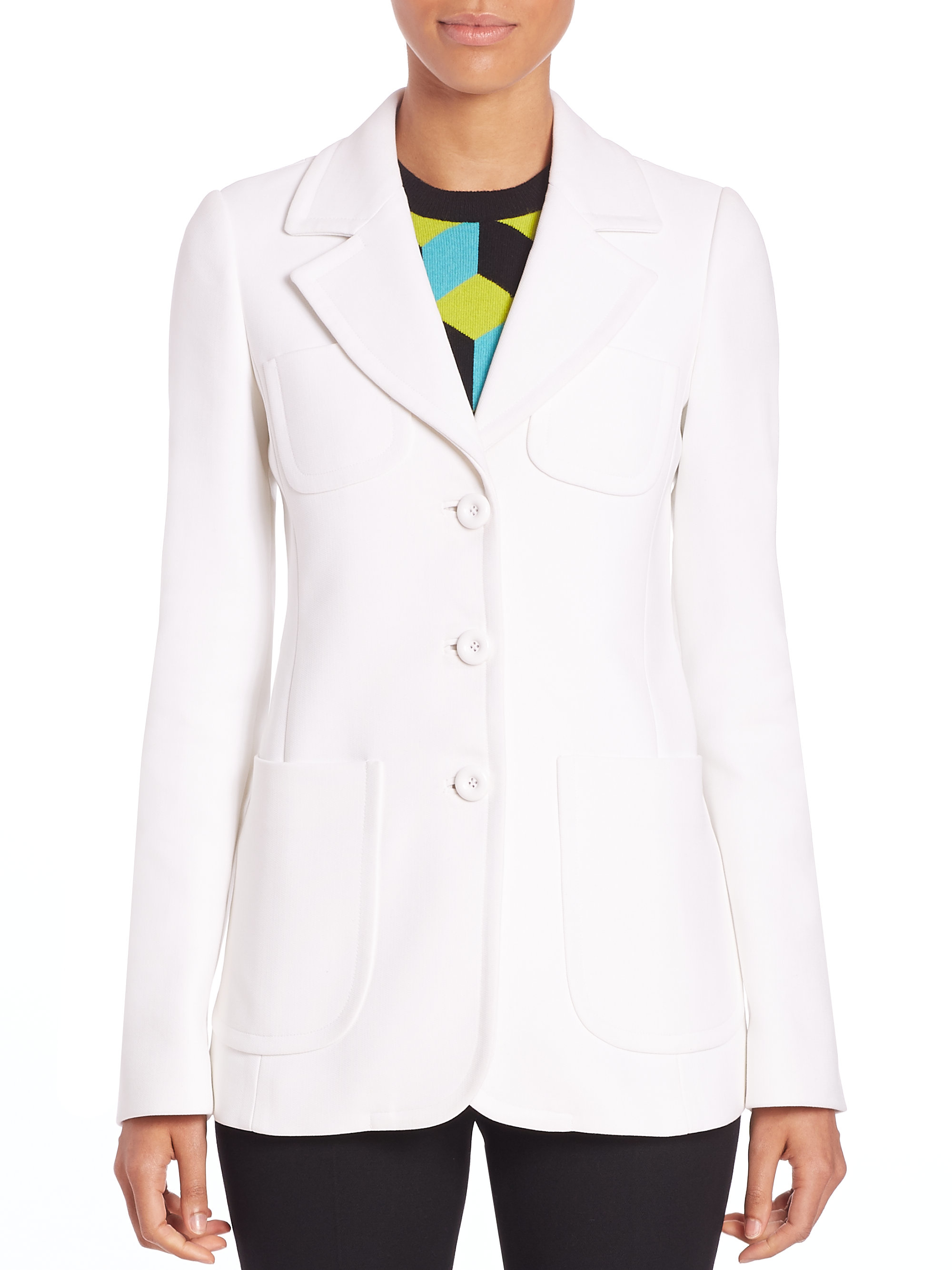 michael kors cotton blazer in white lyst. Black Bedroom Furniture Sets. Home Design Ideas