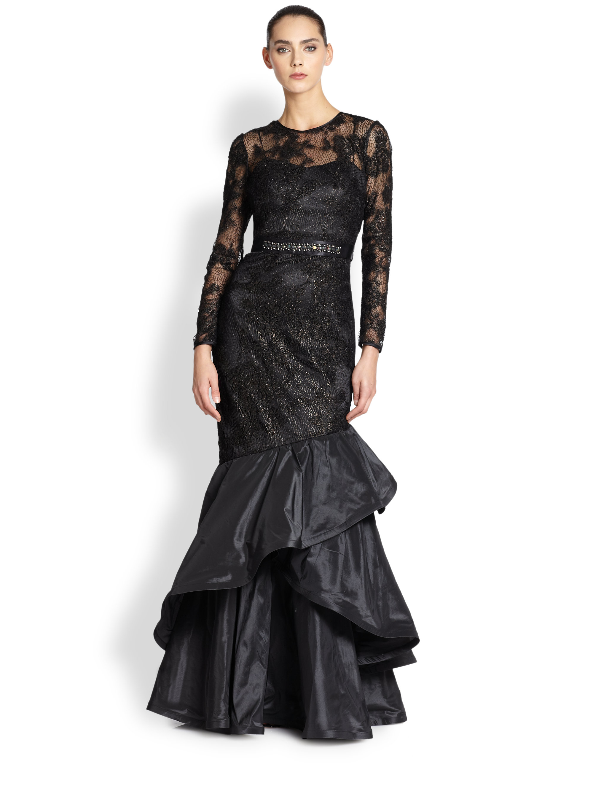 Lyst - Teri Jon Lace & Taffeta Mermaid Gown in Black