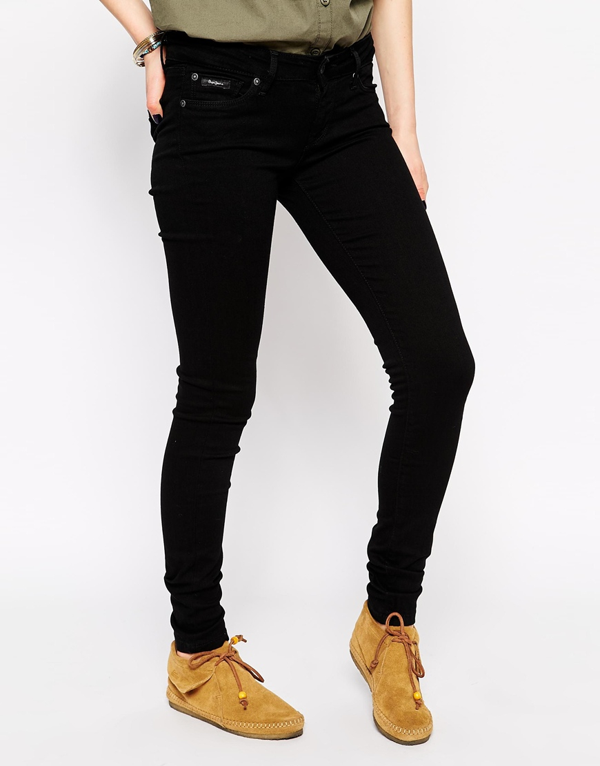 lyst pepe jeans soho skinny jeans in black. Black Bedroom Furniture Sets. Home Design Ideas