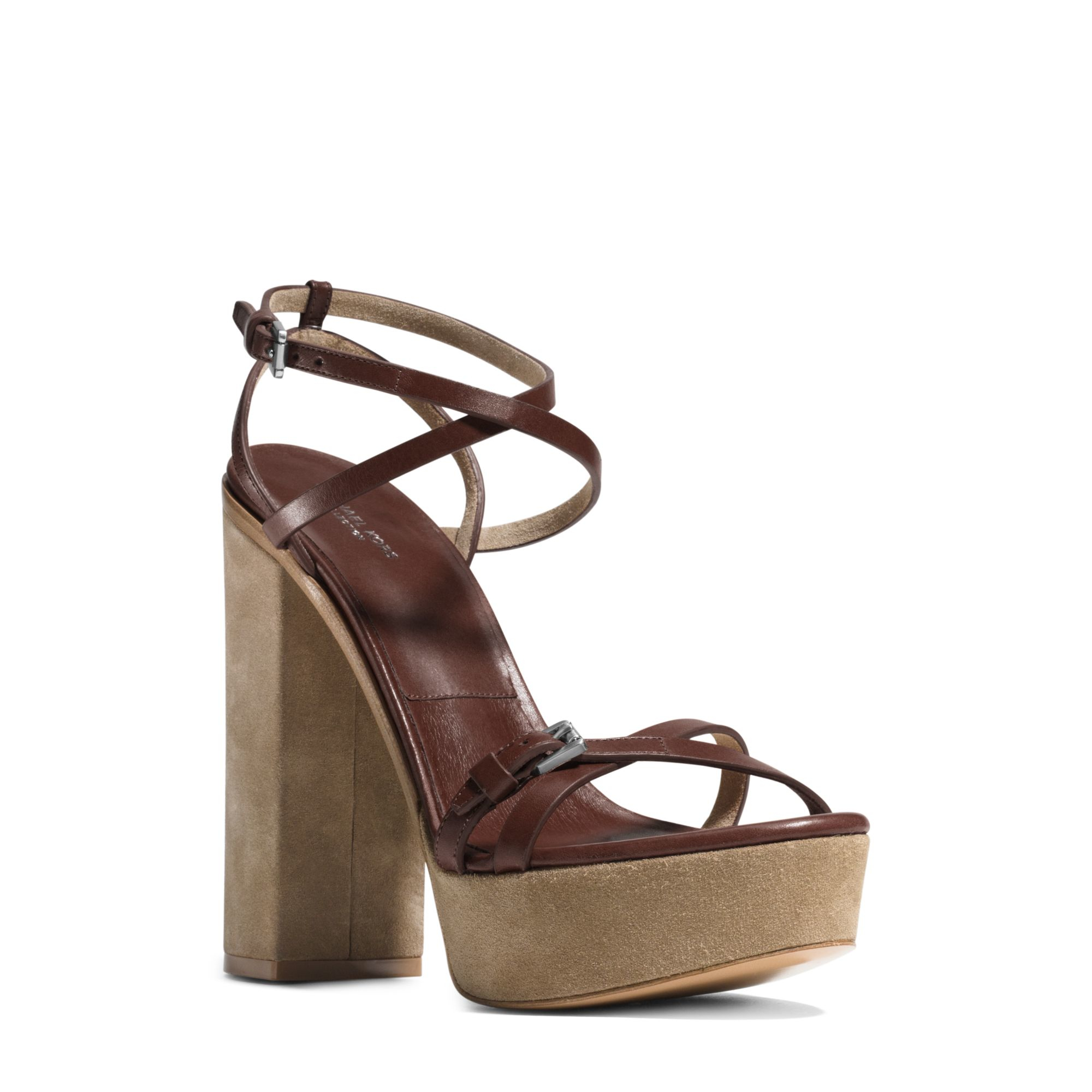 7c65c86eb4cd Lyst - Michael Kors Alma Runway Leather And Suede Sandal in Brown