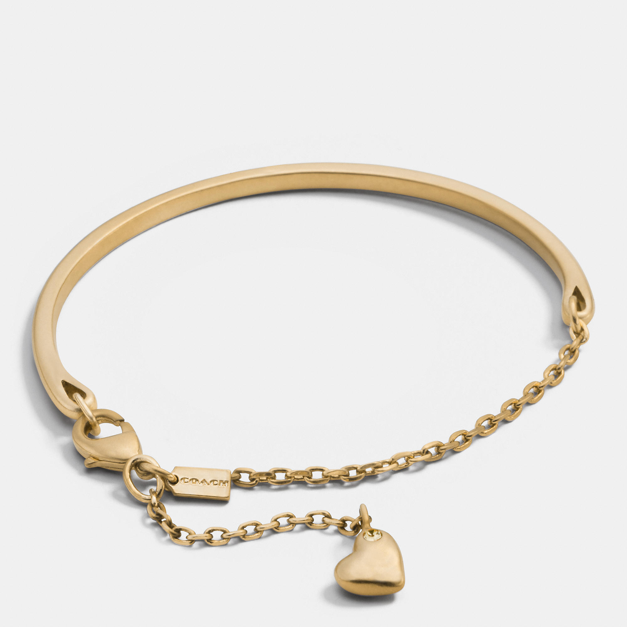 Coach Pave Sculpted Heart Charm Bracelet in Metallic