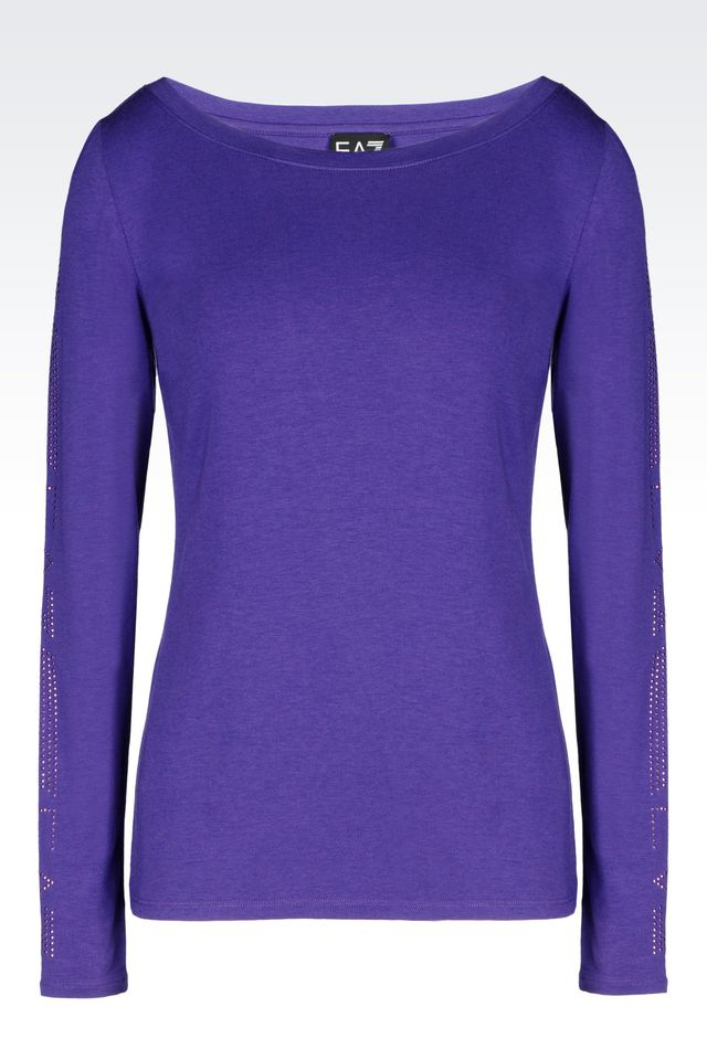 Ea7 long sleeved t shirt in purple lyst for Long sleeve purple polo shirt