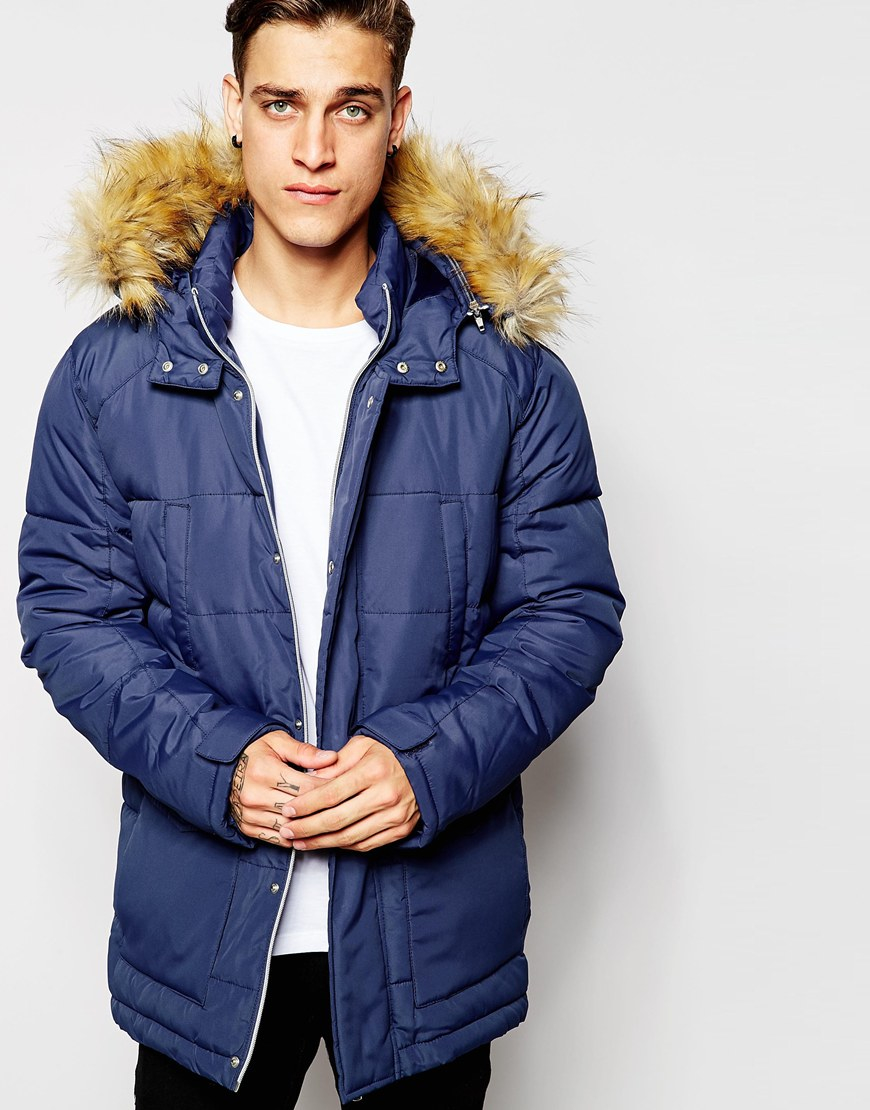 Asos Quilted Fishtail Parka With Faux Fur Hood In Navy in Blue for ...