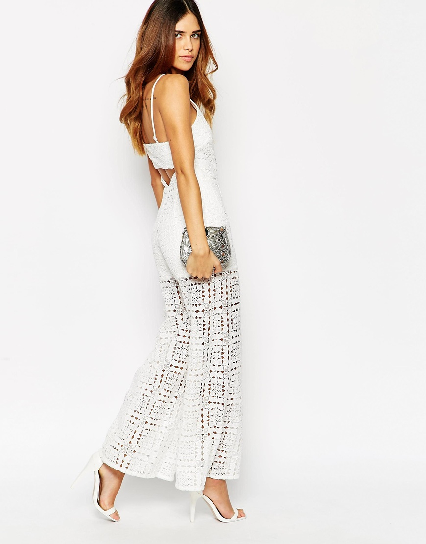 44934dd4db2a Lyst - ASOS Lace Wide Leg Jumpsuit With Cut Out Back - White in White