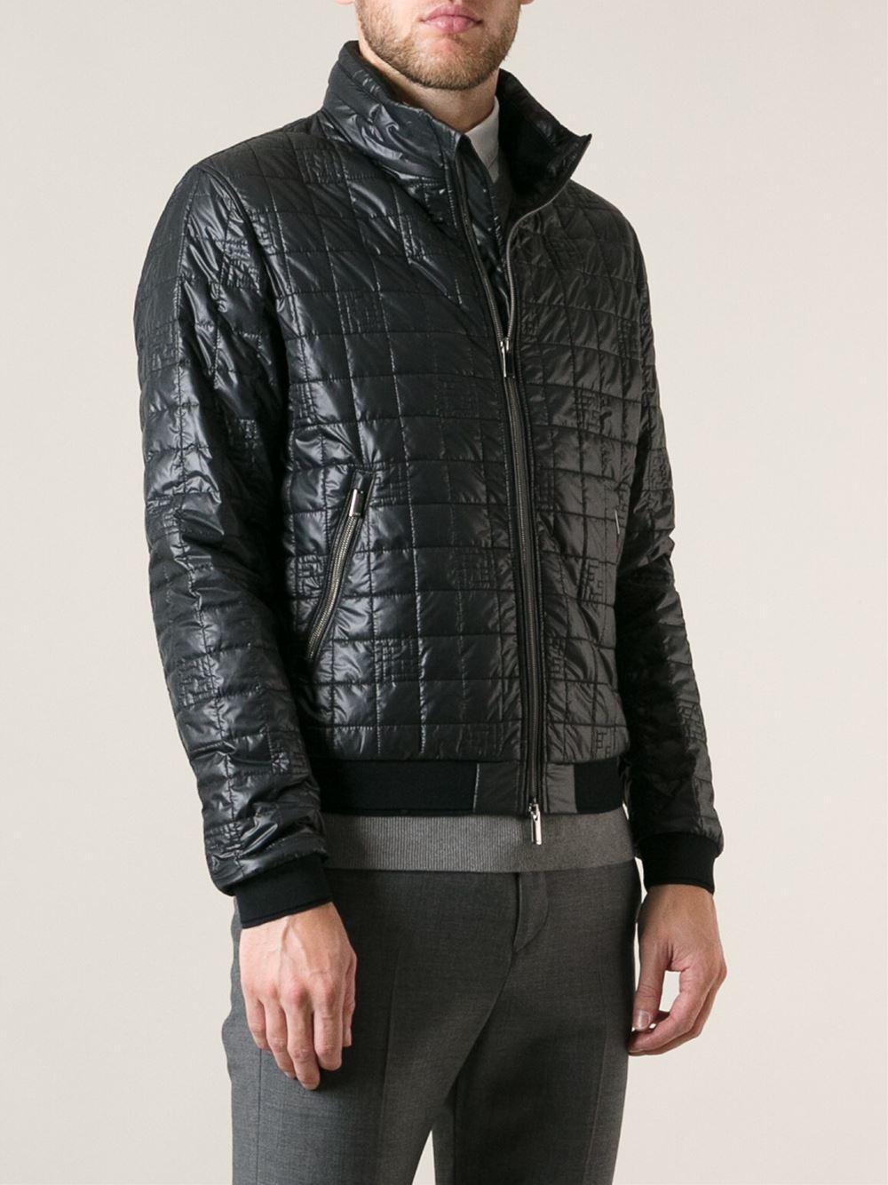 Fendi Ff Logo Quilted Bomber Jacket in Black for Men