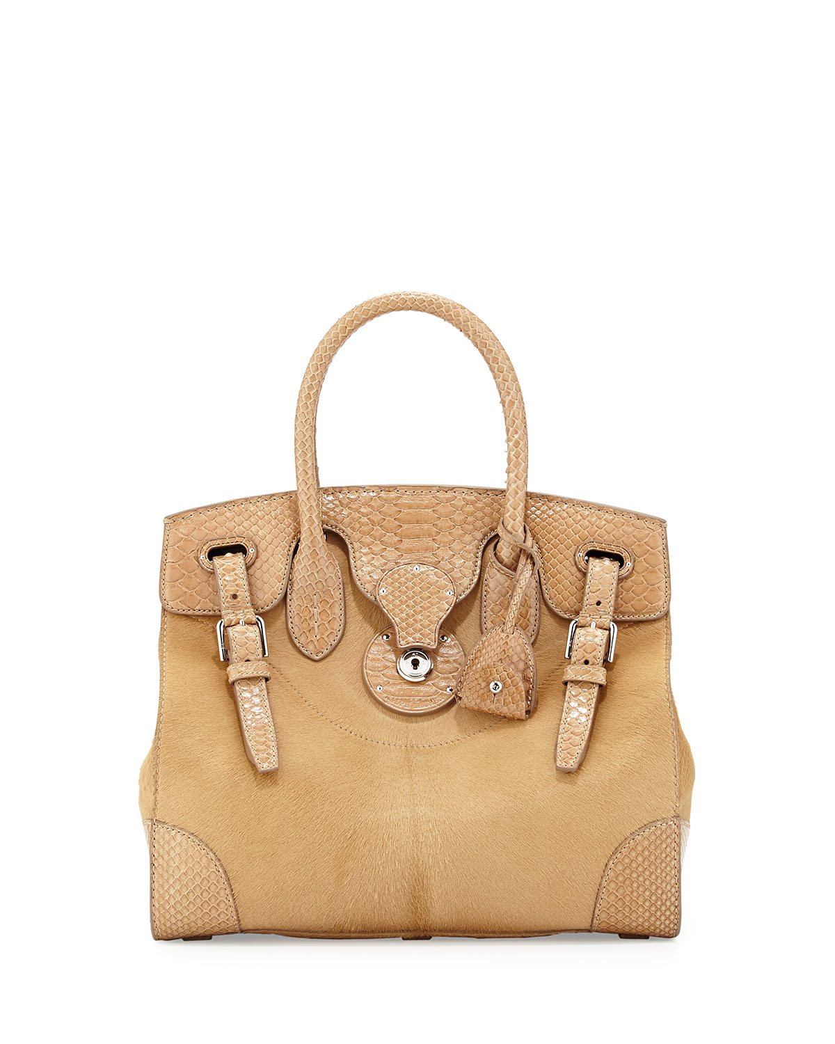 64da4620a6 Lyst - Ralph Lauren Ricky 33 Calf Hair   Python Satchel Bag in Natural