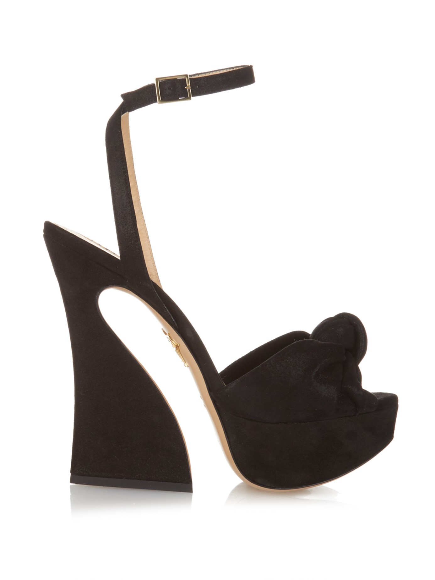 cc81d15fceee Lyst - Charlotte Olympia Vreeland Suede Knotted Sandals in Black