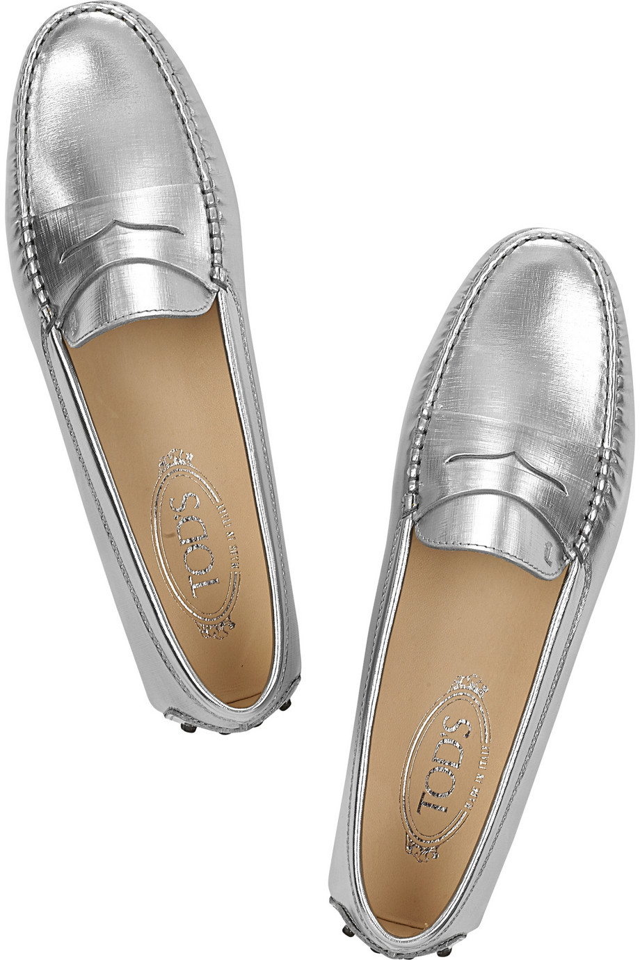 Lyst Tod S Gommino Metallic Leather Loafers In Metallic