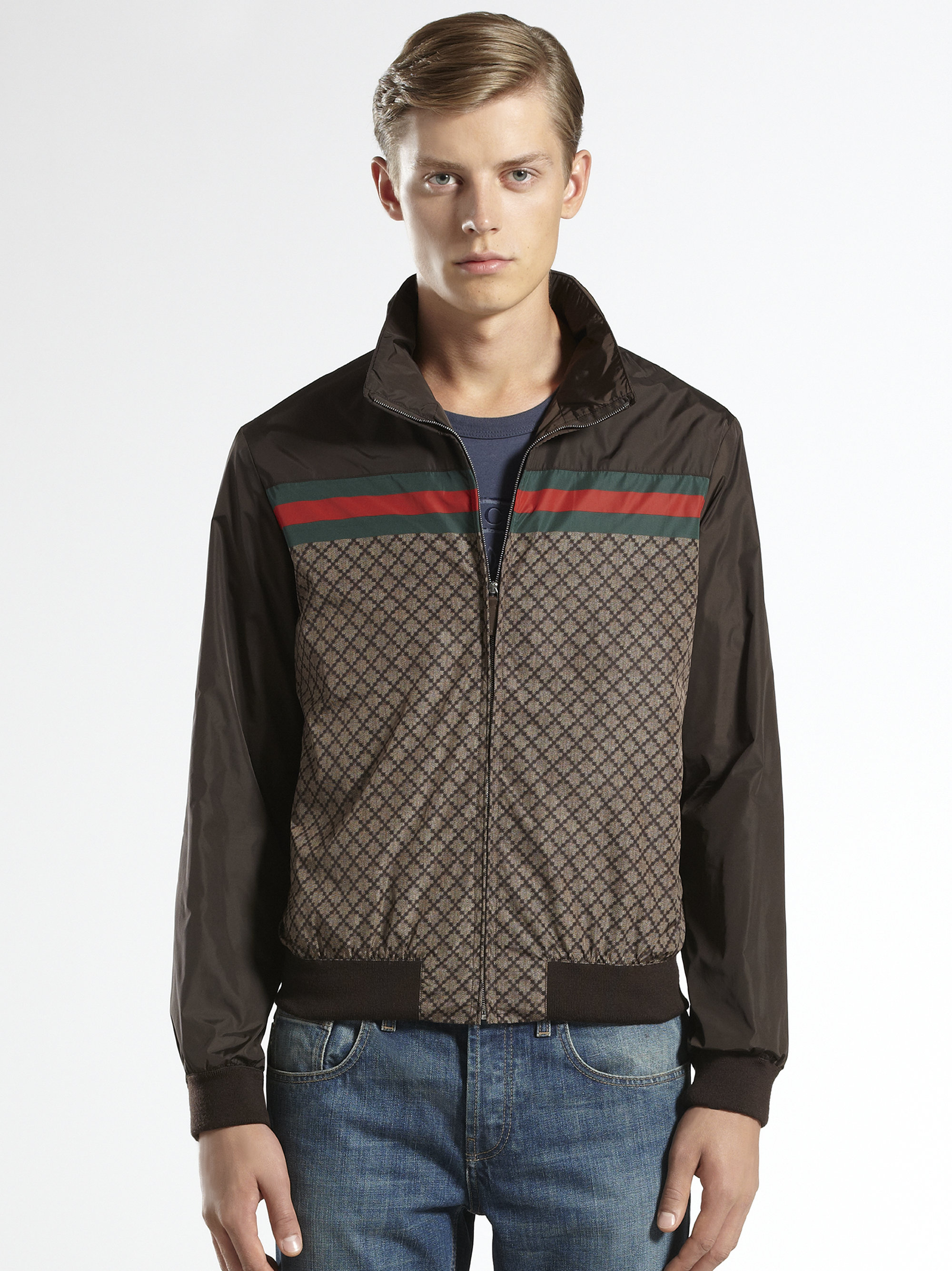 Lyst - Gucci Diamante Jacket in Brown for Men b88c0a40e505