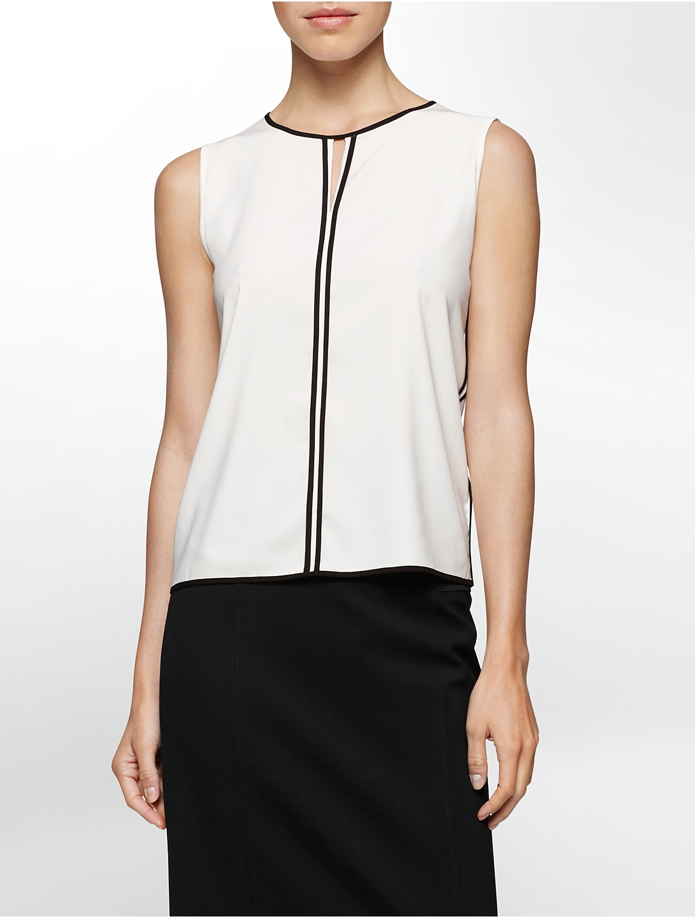 calvin klein white label colorblock piped sleeveless top in